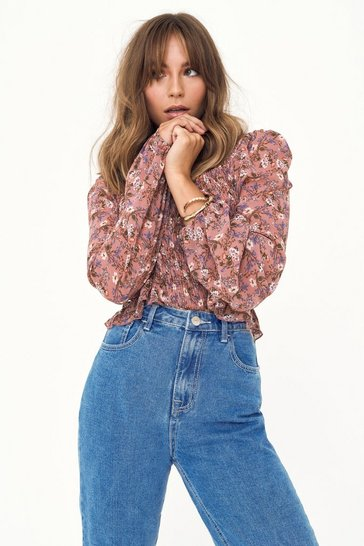 Womens Rose Shirr Universe Floral Blouse