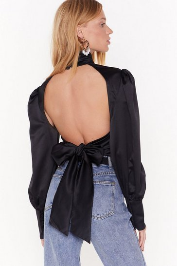 Womens Black Talkin Behind Our Backs Satin High Neck Blouse