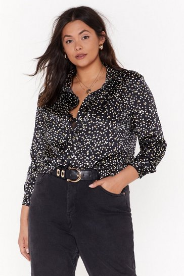 Womens Black Feelin' Dot Plus Oversized Shirt