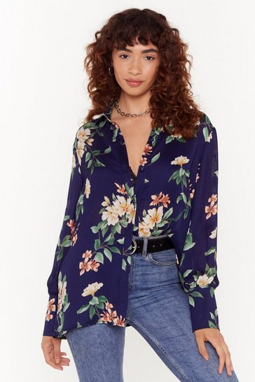 Navy Satin Pretty Floral Shirt