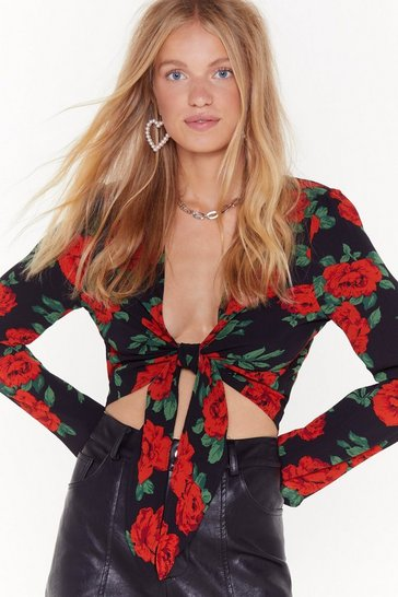 Womens Black Hit 'Em With Your Best Rose Tie Top