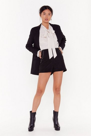Womens Black Faux Suede It to the Party High-Waisted Shorts
