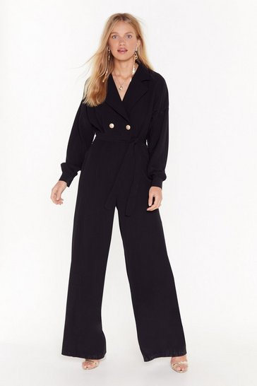 Womens Black Tailored to You Belted Jumpsuit