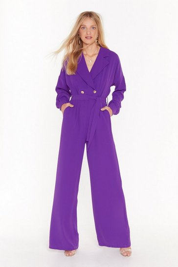 Womens Purple Tailored to You Belted Jumpsuit