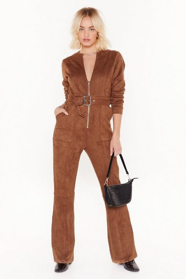 Womens Tan Can I Faux Suede You to Stay Belted Jumpsuit