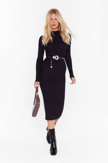 Womens Black Blame Rib On Love High Neck Midi Dress