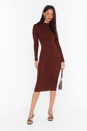 Brown Blame Rib On Love High Neck Midi Dress