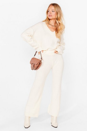Ivory Two For the Road Knit Sweater and Pants Set