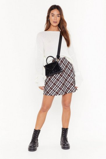 Womens Black Check A-Line Mini Skirt