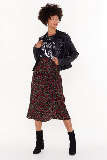 Womens Black Red Floral Ruched Side Midi Skirt