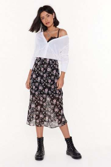 Womens Black Grow Me Your Moves Floral Midi Skirt