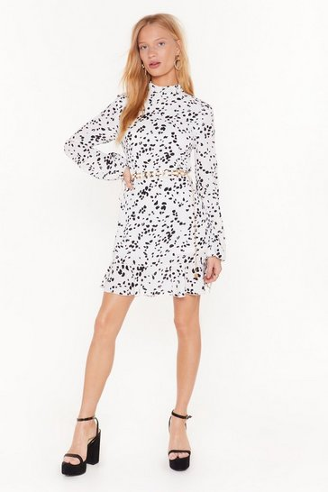 Womens White The Spot Thickens Dalmatian Mini Dress
