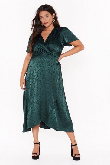 Womens Green Don't Stop Be-Leafing Plus Satin Dress