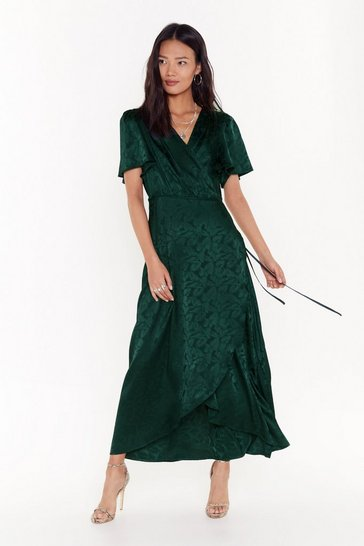 Green Don't Stop Be-Leafing Satin Wrap Dress