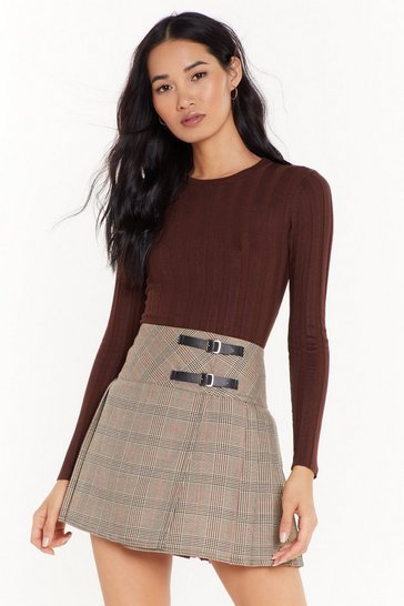 Womens Beige The Best You Ever Had Tartan Mini Skirt