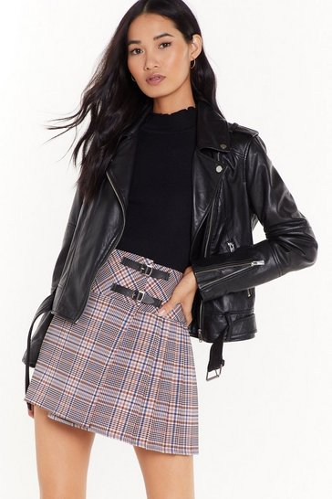 Womens Grey The Best You Ever Had Tartan Mini Skirt