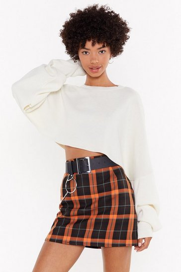 Womens Orange Don't Check On Me High-Waisted Mini Skirt