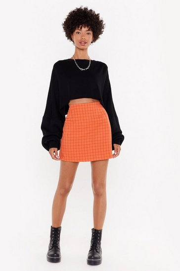 Womens Orange Time to Check Out High-Waisted Mini Skirt