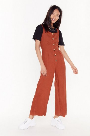 Womens Terracotta Linen Up Button-Down Jumpsuit