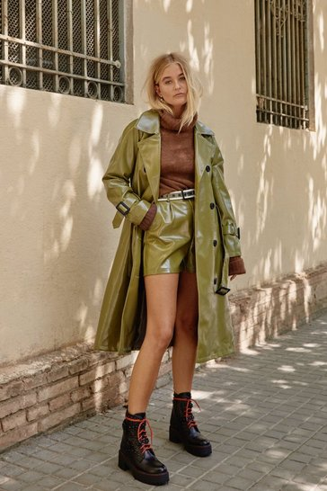 Womens Olive Vinyl Countdown Belted Trench Coat