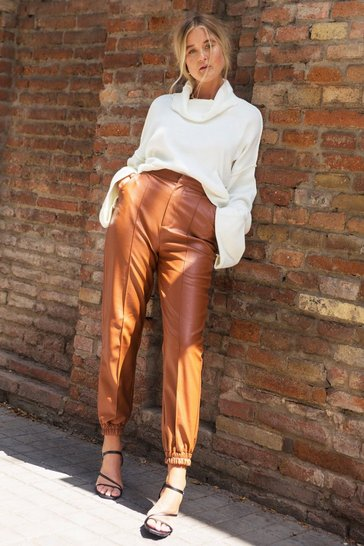 Womens Tan Seams Like Heaven Faux Leather Joggers
