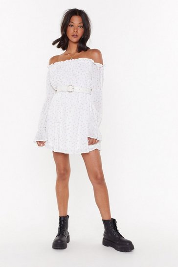 Womens White MS Bardot Mini In Textured Ditsy Floral