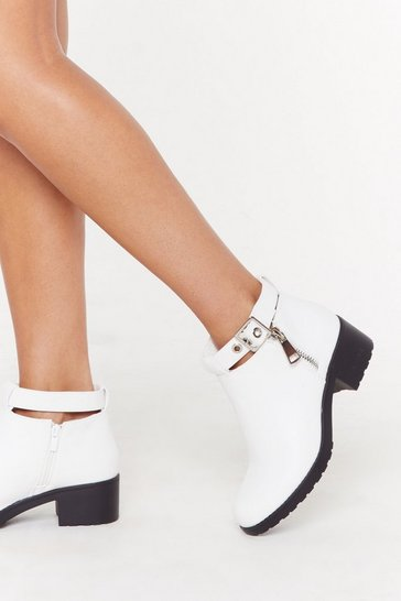 White Side Zip Cut Out Biker Boots