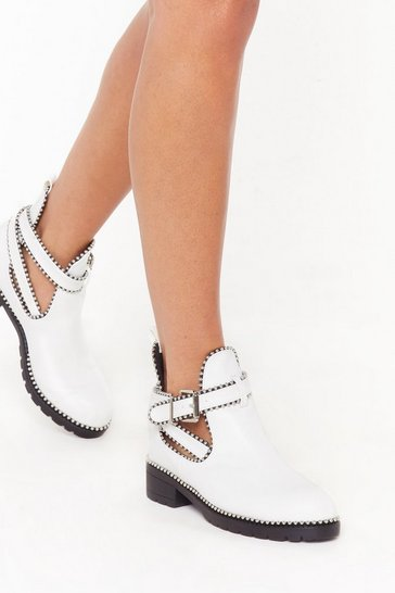 Womens White Stud I Stay Faux Leather Biker Boots