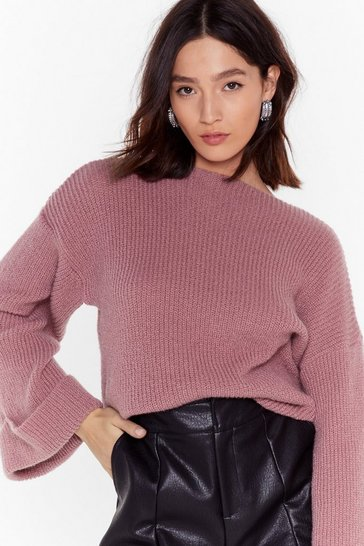 Womens Rose Bring Knit On Wide Sleeve Ribbed Sweater