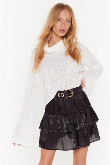 Womens Black Came Tier to Party Mini Skirt