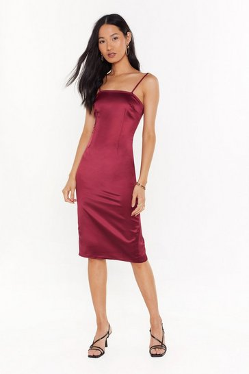 Womens Burgundy The First to Dance Fitted Satin Dress