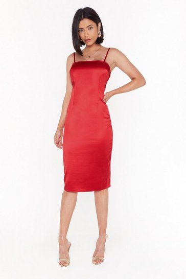 Womens Red The First to Dance Fitted Satin Dress