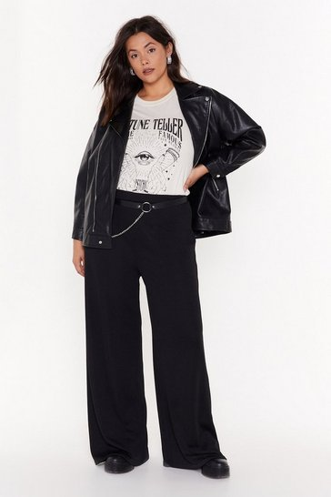 Womens Black Move It Plus Wide-Leg Pants