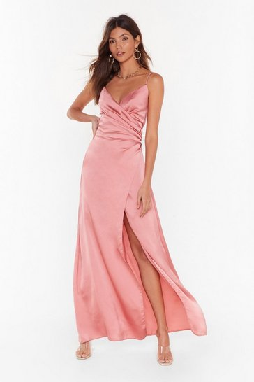 Womens Blush Right Bride Your Side Satin Maxi Dress