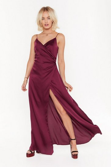 Womens Burgundy Right Bride Your Side Satin Maxi Dress