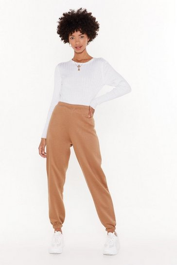 Womens Camel On the Run High-Waisted Joggers