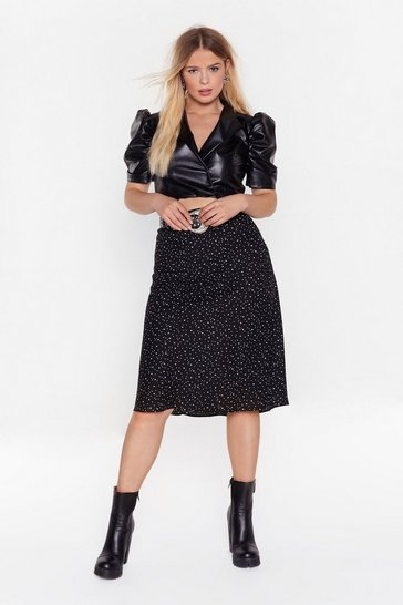 Black Star Gazing Plus Midi Skirt