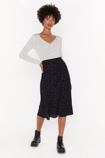 Black Polka Dot and Star Print Midi Skirt
