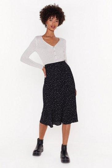 Black Star Gazing Polka Dot Midi Skirt