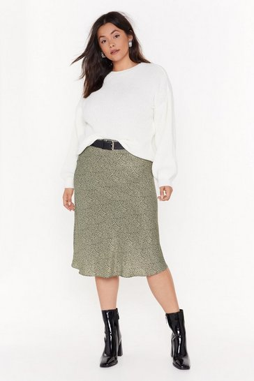 Womens Green Spot Right Now Babe Plus Midi Skirt