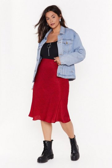Womens Red Spot Right Now Babe Plus Midi Skirt