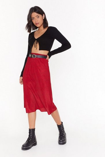 Womens Red Spot Right Now Babe Midi Skirt