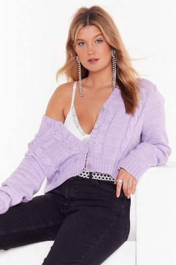 Lilac Take Knit as Knit Comes Cropped Cardigan