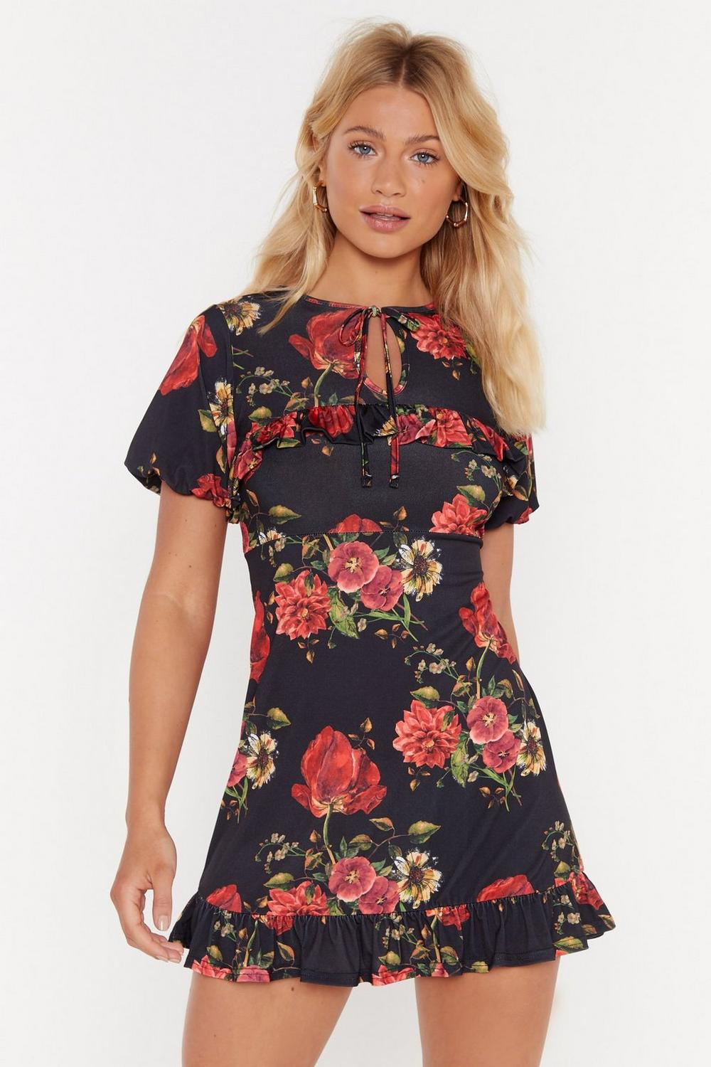 Cut It Out Floral Mini Dress by Nasty Gal