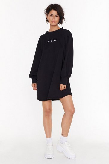 Womens Black Nasty Gals Oversized Sweatshirt Dress