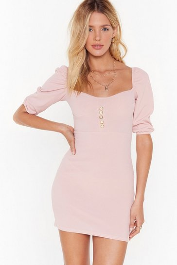 Womens Sand Look at That Pearl Ribbed Mini Dress
