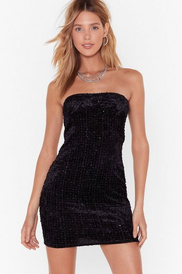Womens Black Cup and Away Velvet Mini Dress