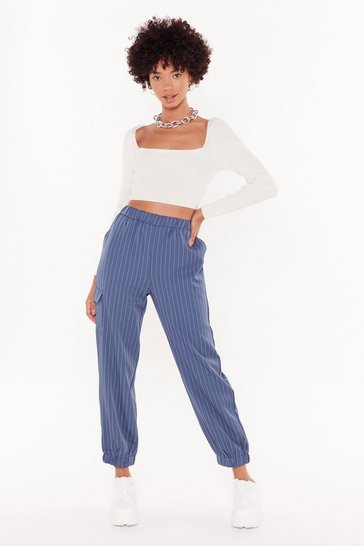 Womens Blue Line Down High-Waisted Striped Joggers