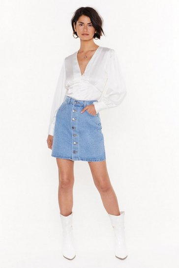 Womens Mid blue You Can't Bring Me Button-Down Denim Skirt