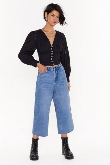 Womens Mid blue Take It in Your Wide-Leg Cropped Jeans